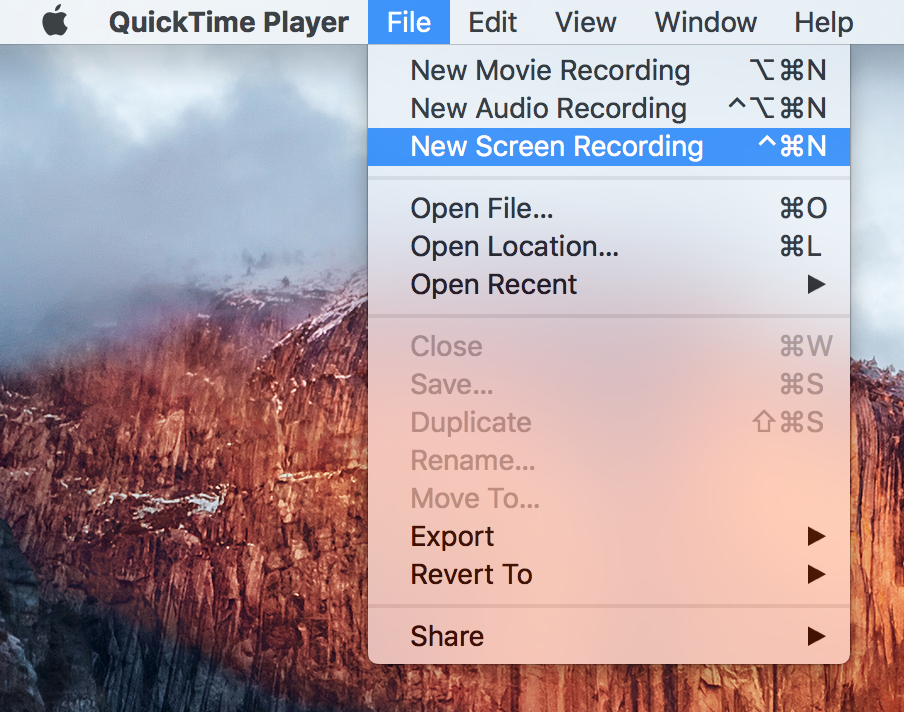 quicktime player new screen recording
