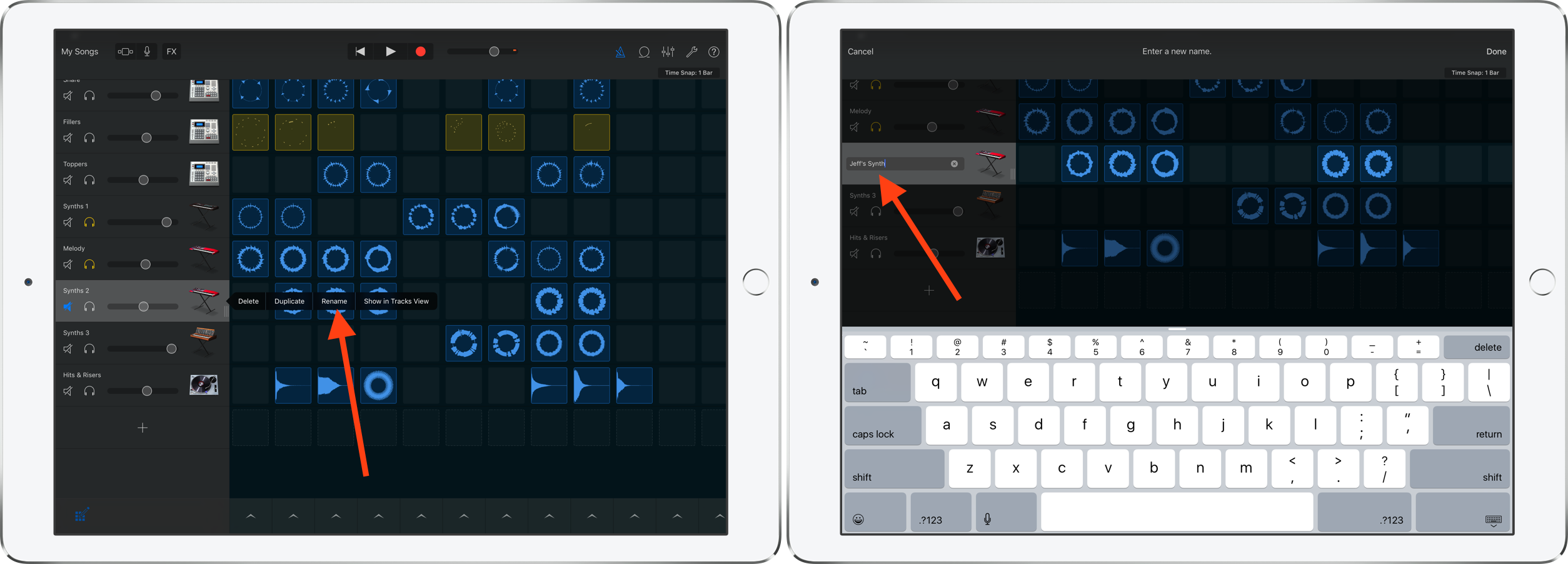 rename columns and instruments GarageBand