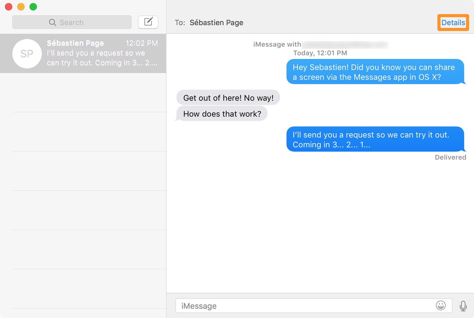 screen sharing from os x messages app