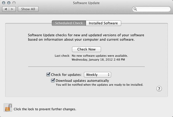 software update settings on earlier macs