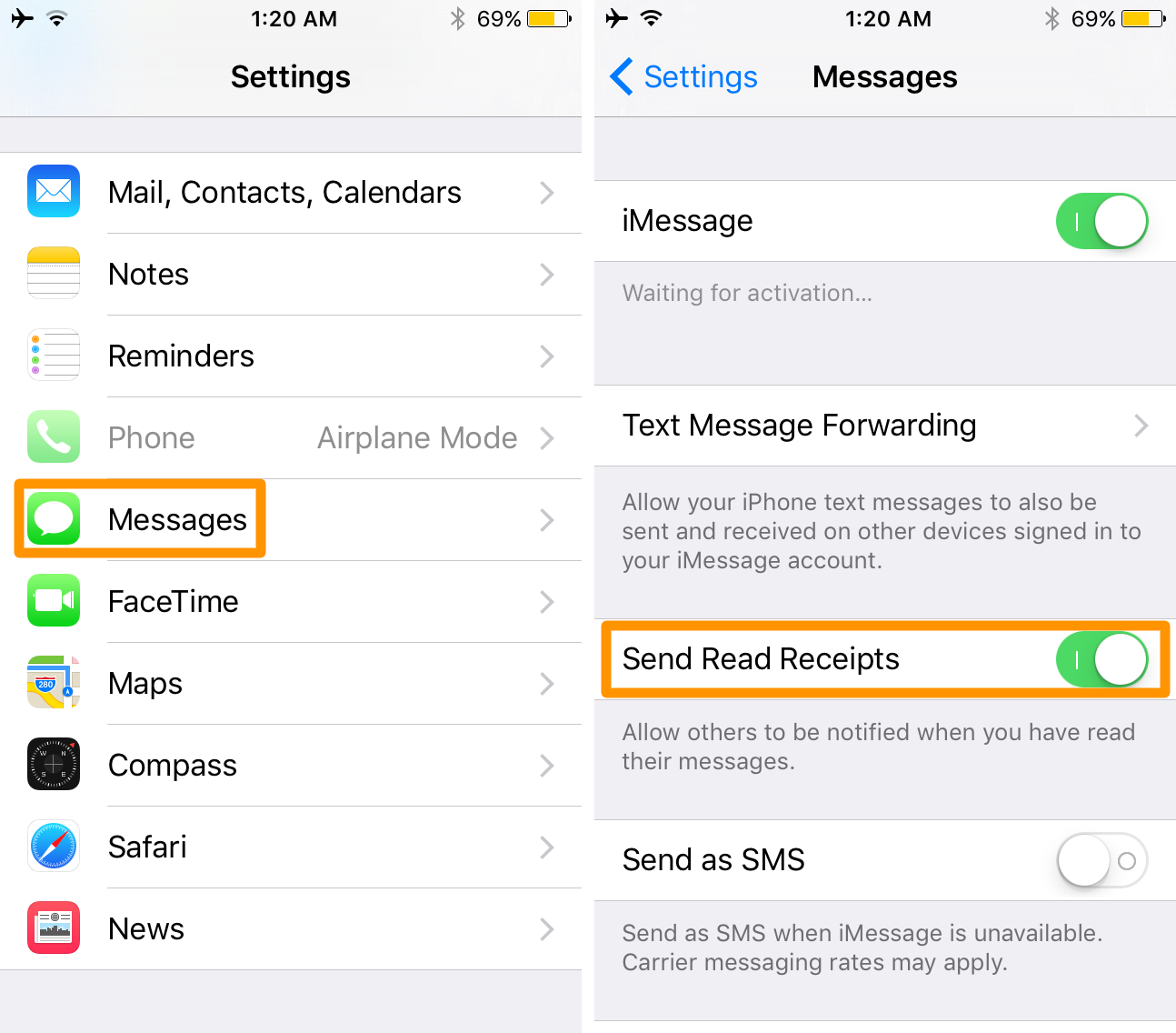 toggle imessage read receipts on iOS