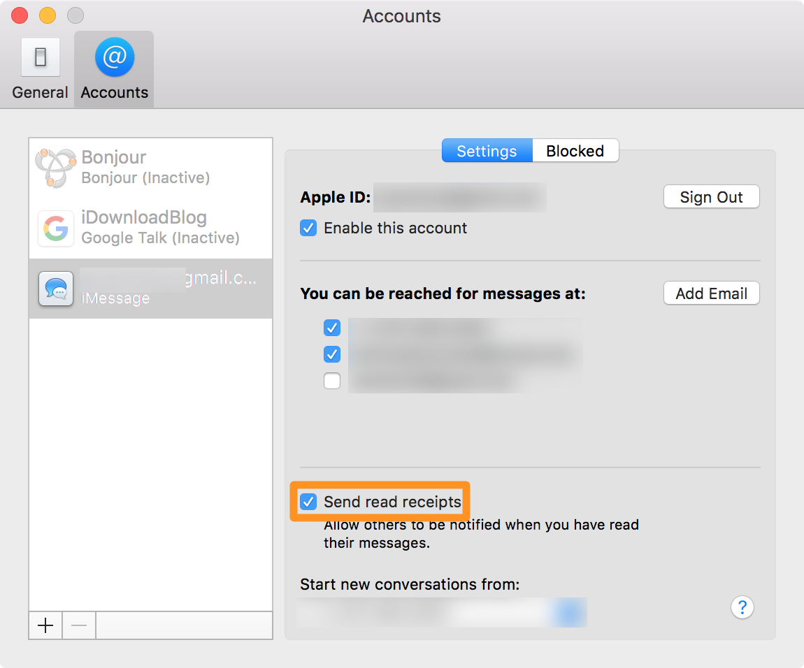 toggle imessage read receipts on Mac