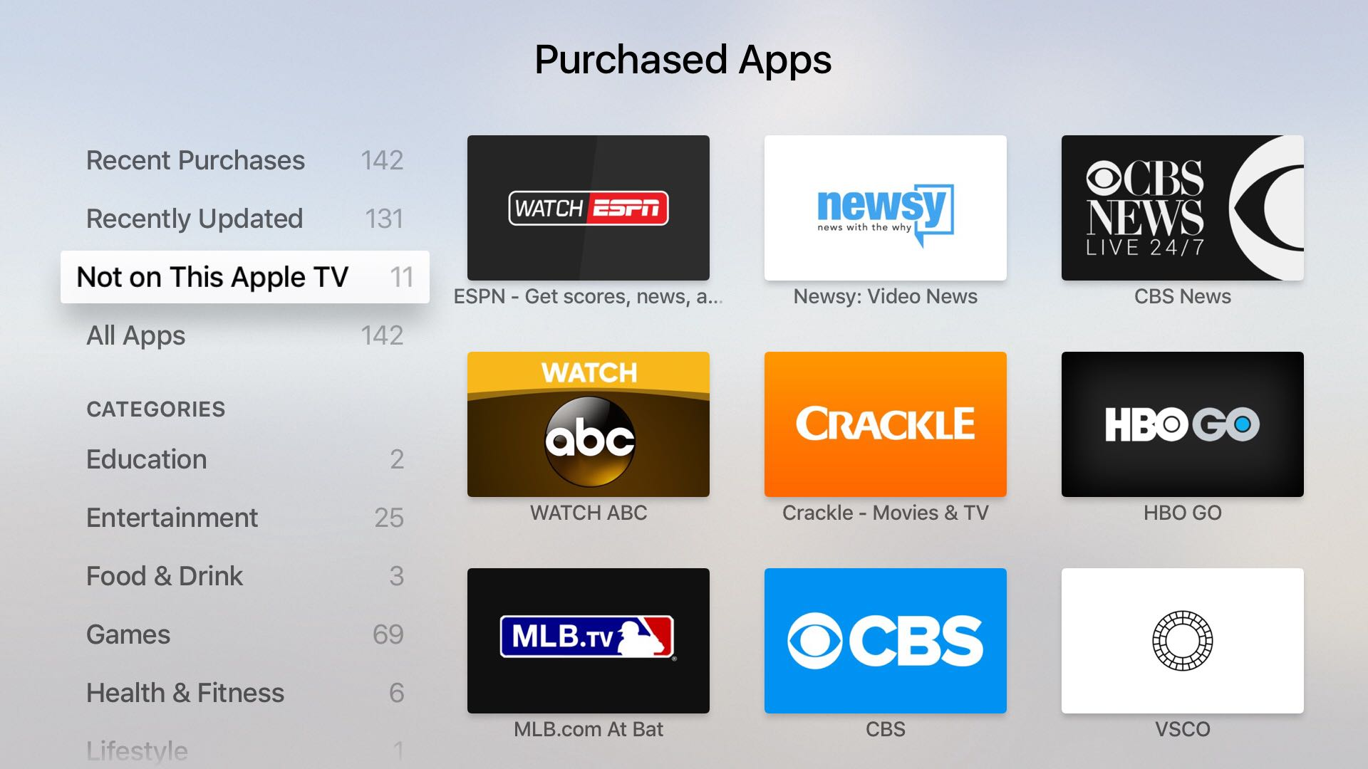 tvOS App Store Not on This section Apple TV screenshot 001