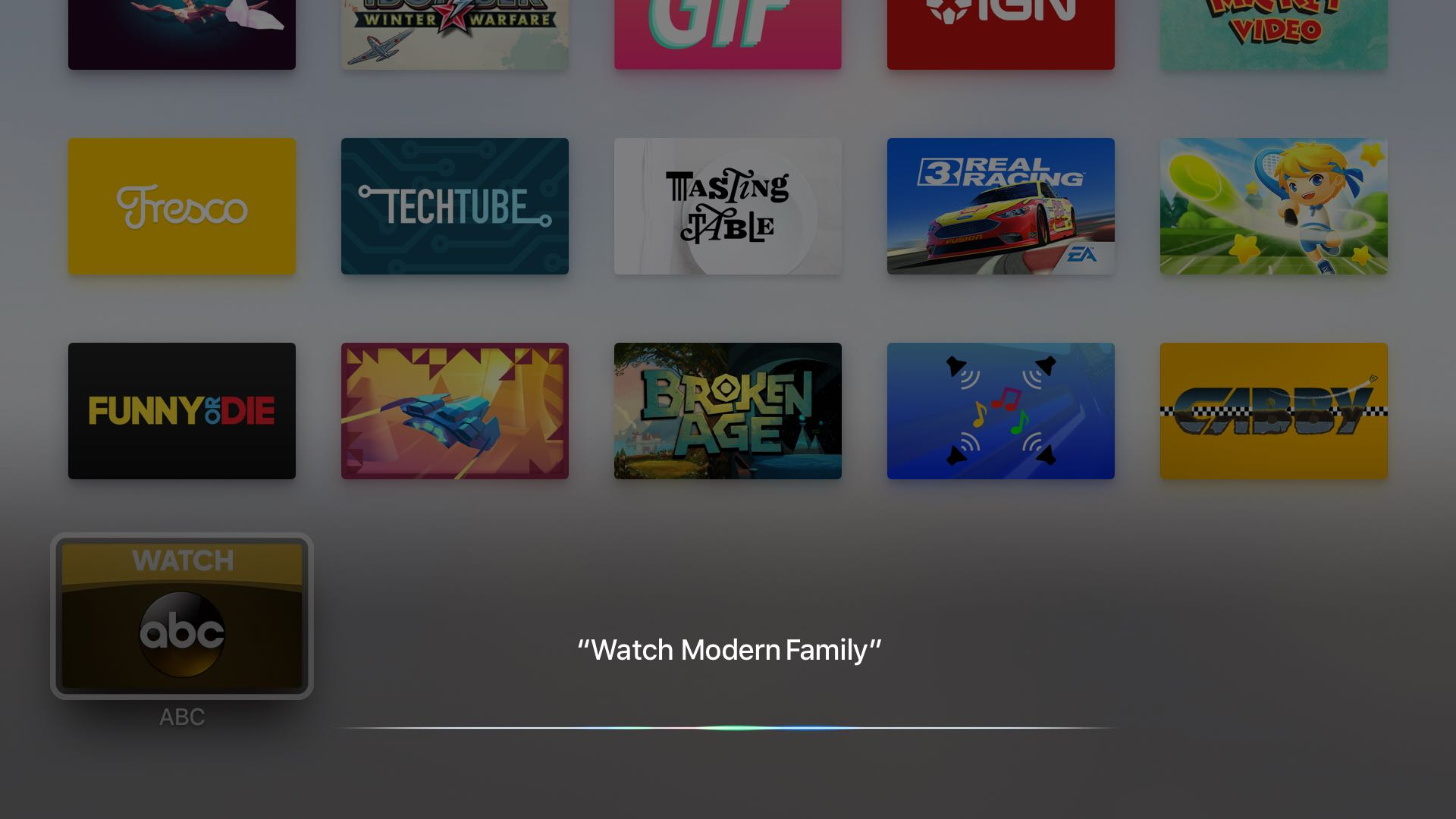 tvOS App Store universal search ABC Apple TV screenshot 001