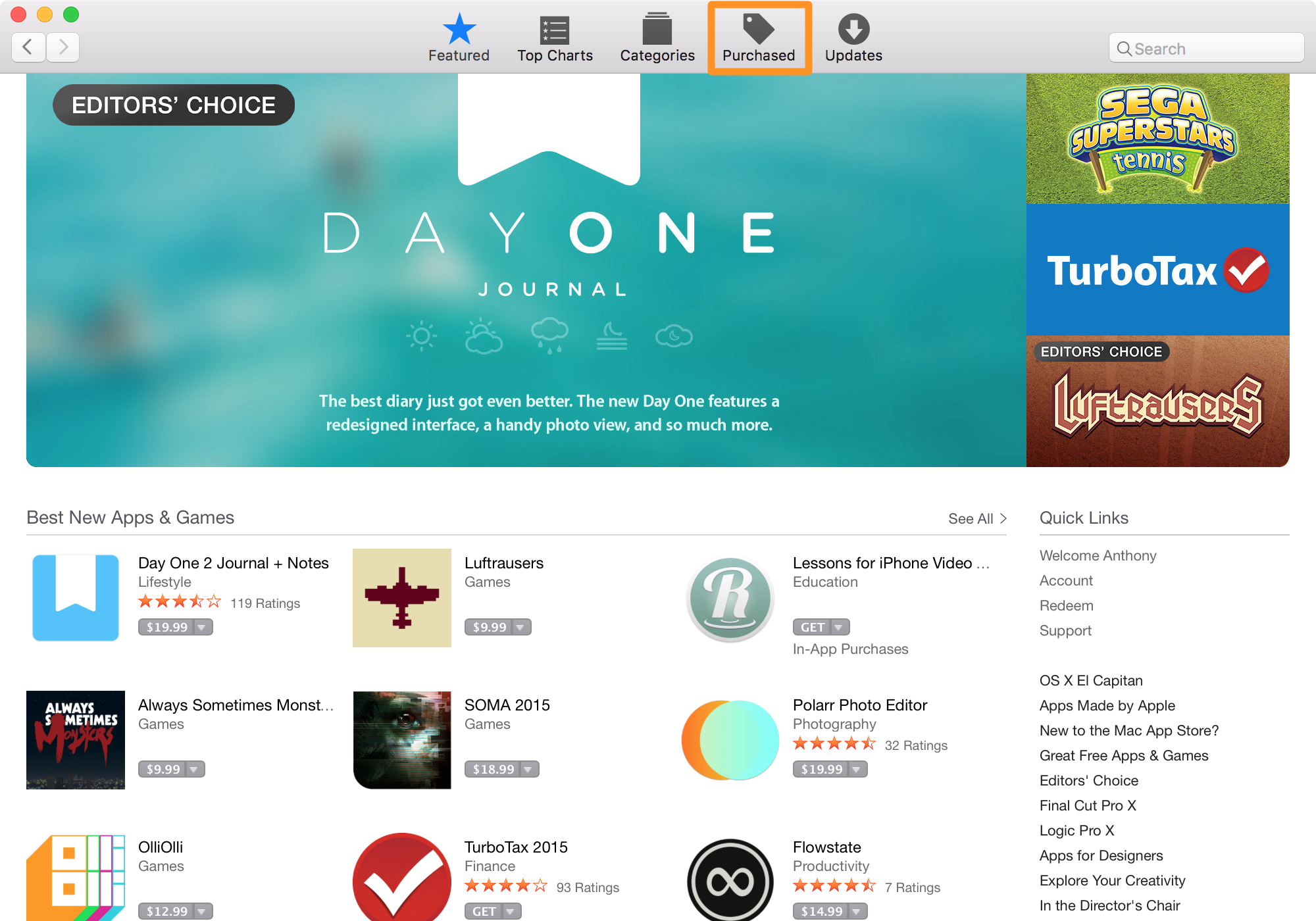 view purchase history in mac app store