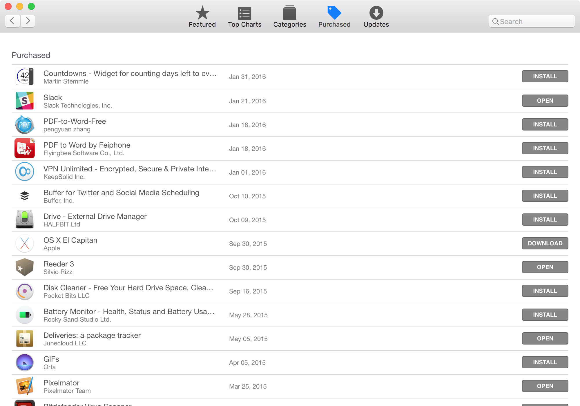 List of purchases in the Mac App Store