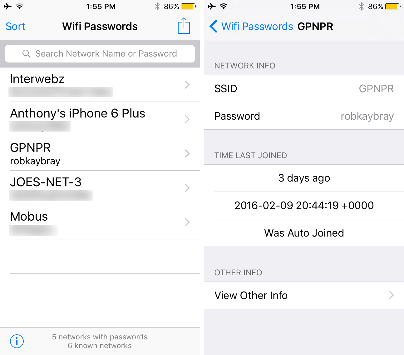 This jailbreak app for iOS shows all your Wi-Fi network passwords