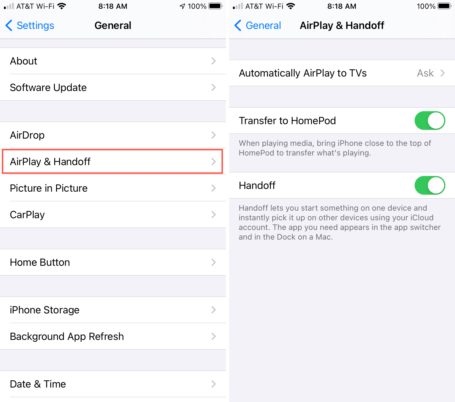 AirPlay and Handoff Settings on iPhone