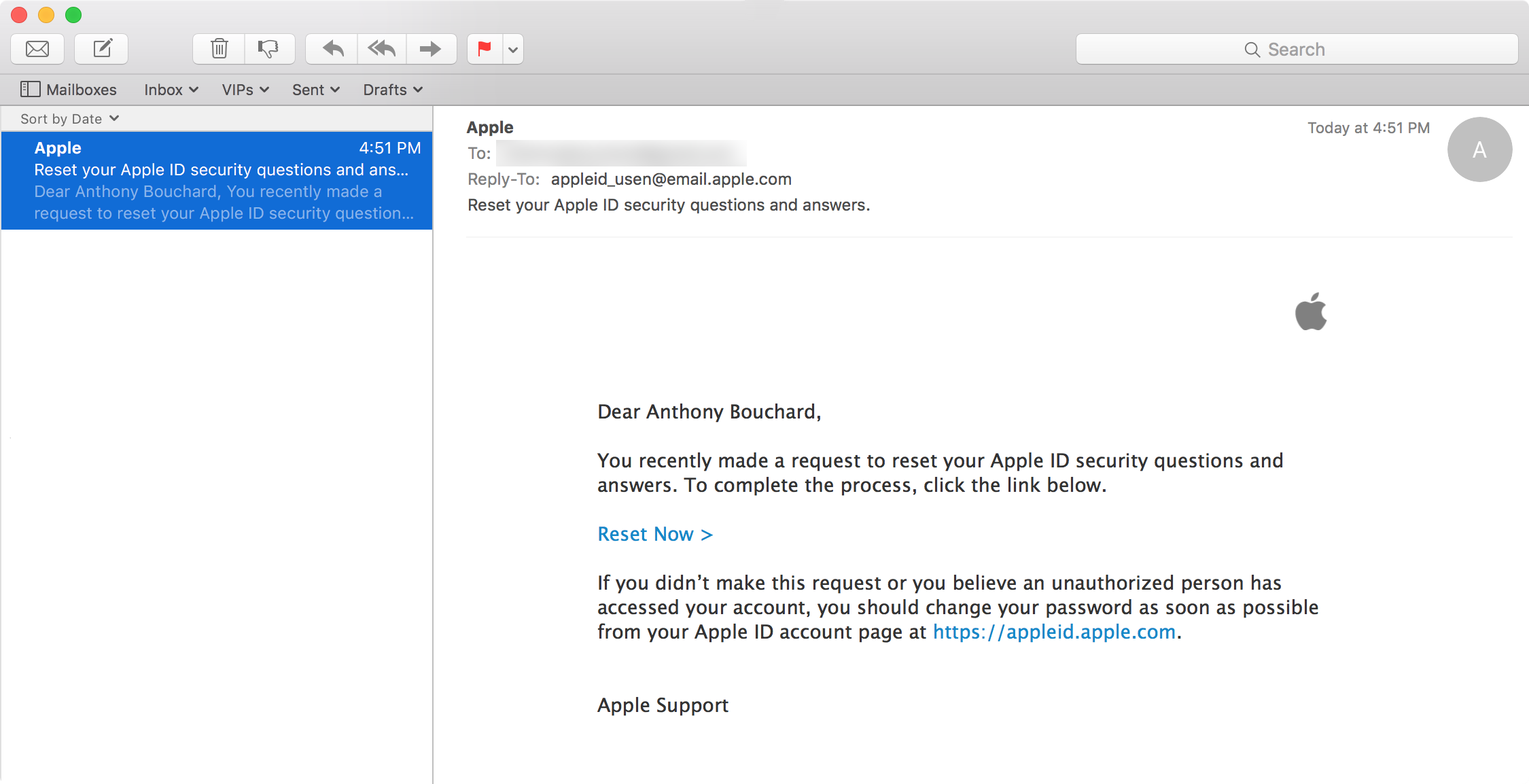 Apple ID reset email confirmation 2