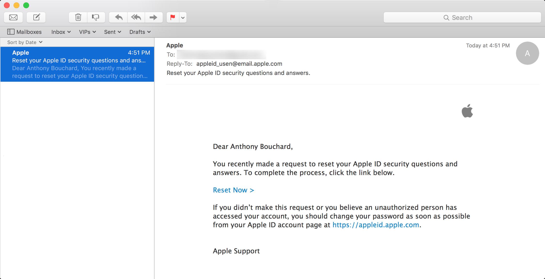 Apple ID restablecer confirmación de correo electrónico 2