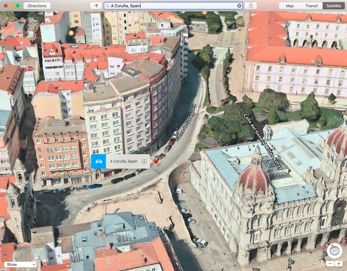 Apple Maps Flyover A Coruna in Spain Mac screenshot 001