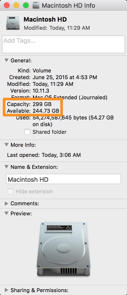 Macintosh HD capacity