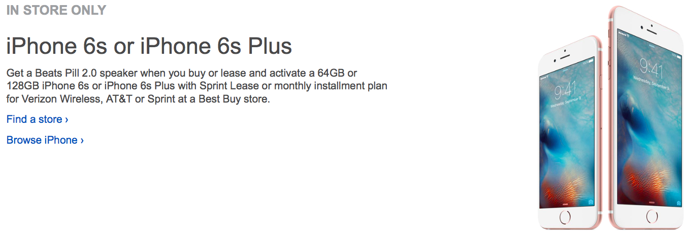 Best Buy iPHone 6s Beats Pill promotion web screenshot 001