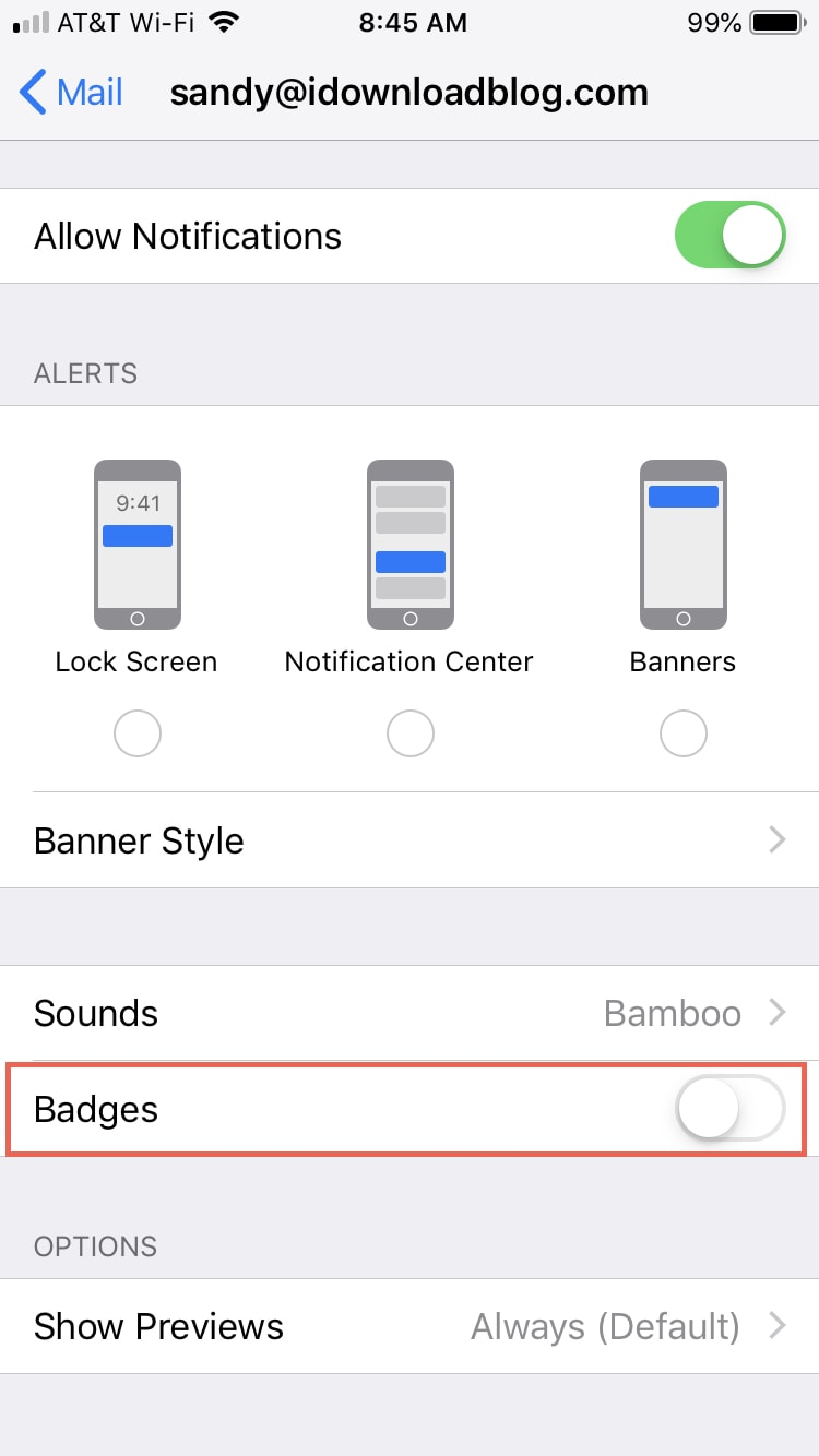 Disable Badges Mail Settings