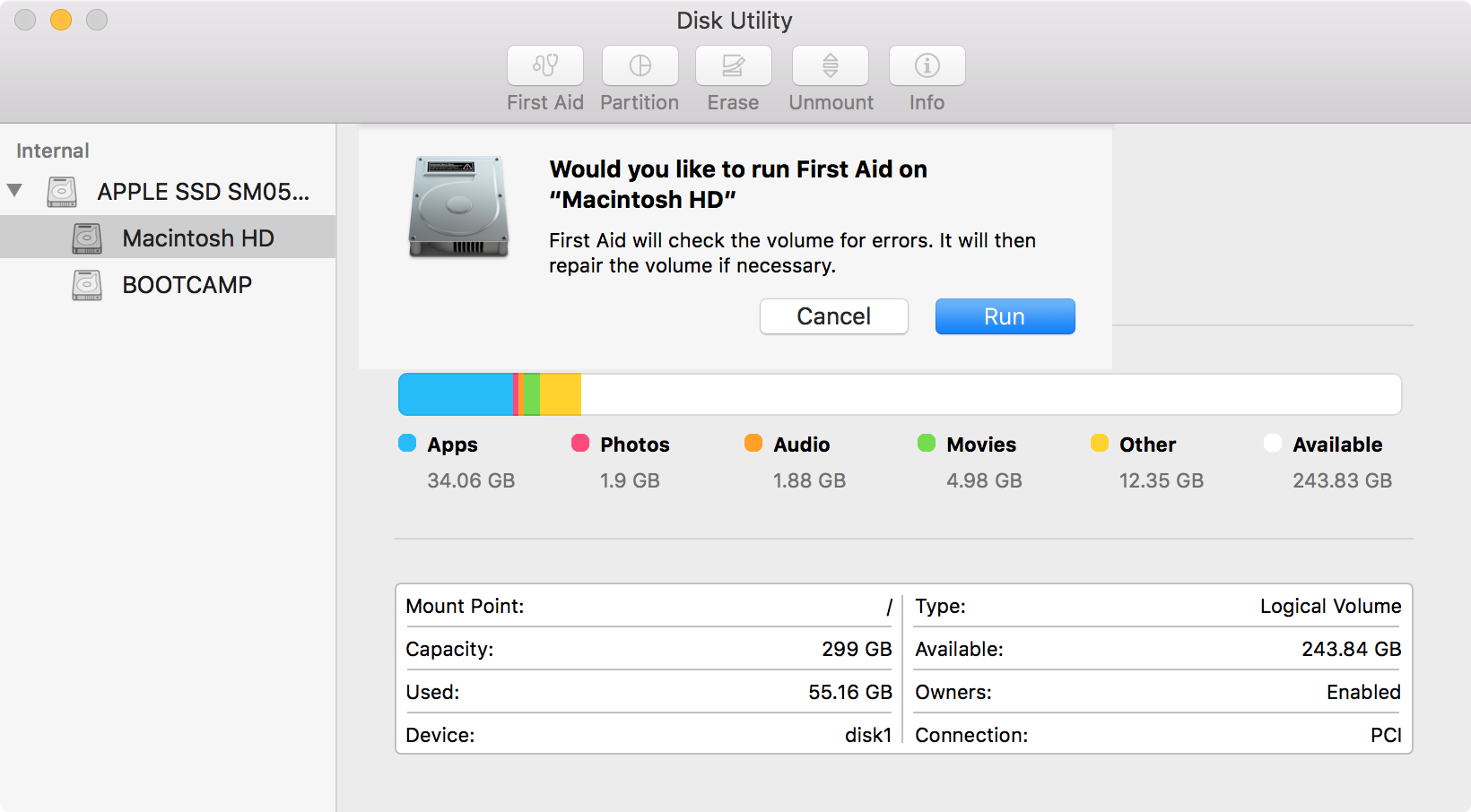 mac is running slowly - Disk Utility First Aid OS X El Capitan