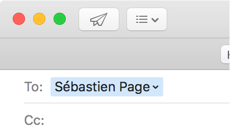 Email Address in To Field in Mail for OS X