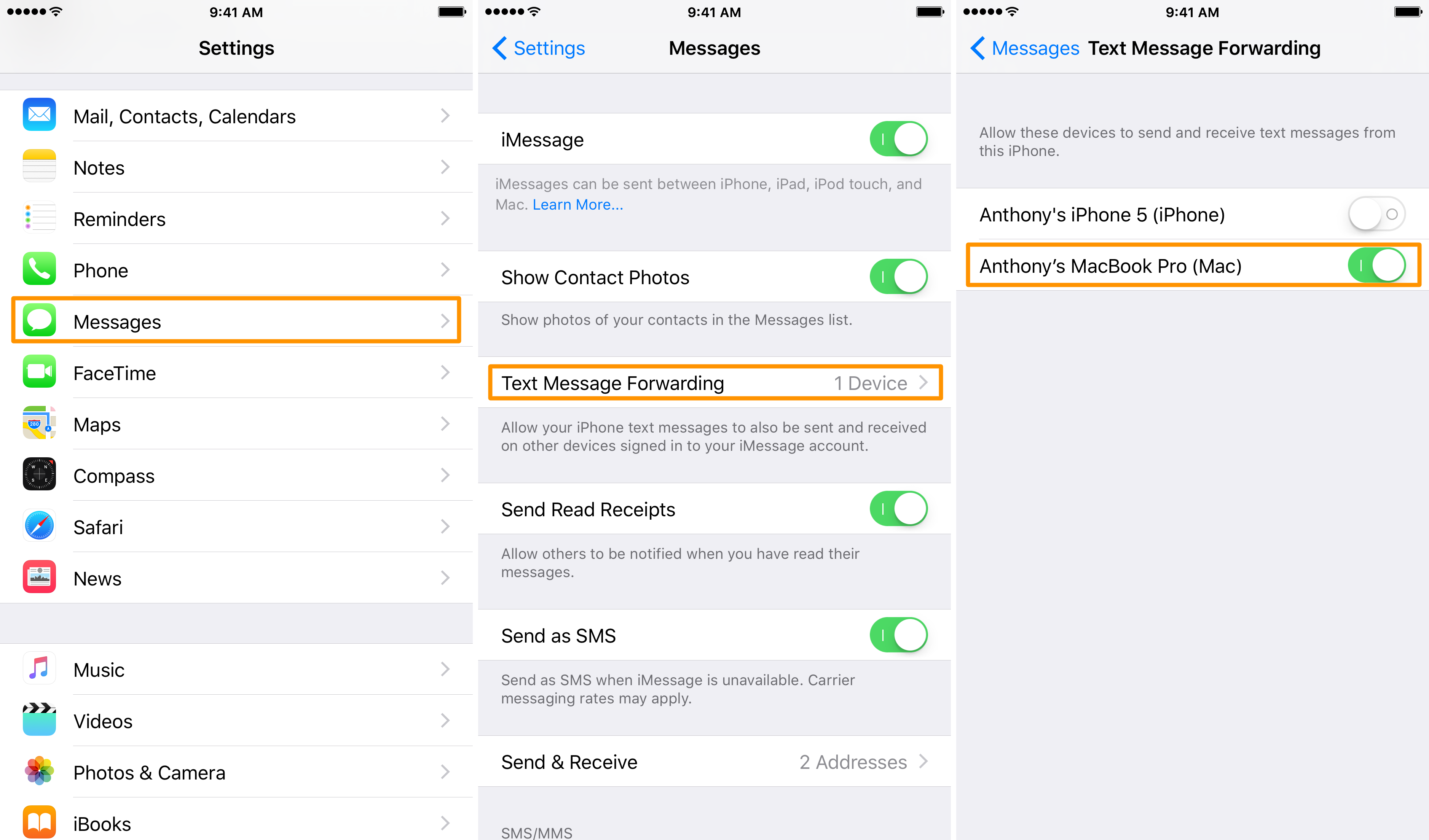 Enable text message forwarding on your iPhone