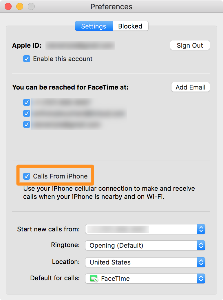 FaceTime app on Mac allows Calls From iPhone