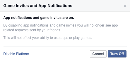 stop game invites Facebook