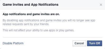 detener el juego invita a Facebook