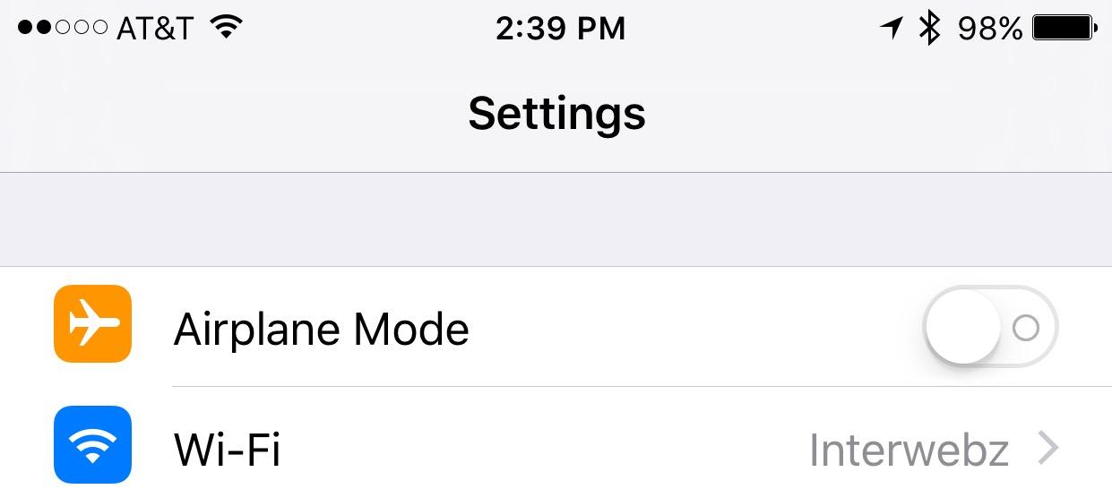 iOS Settings app Wi-Fi network name