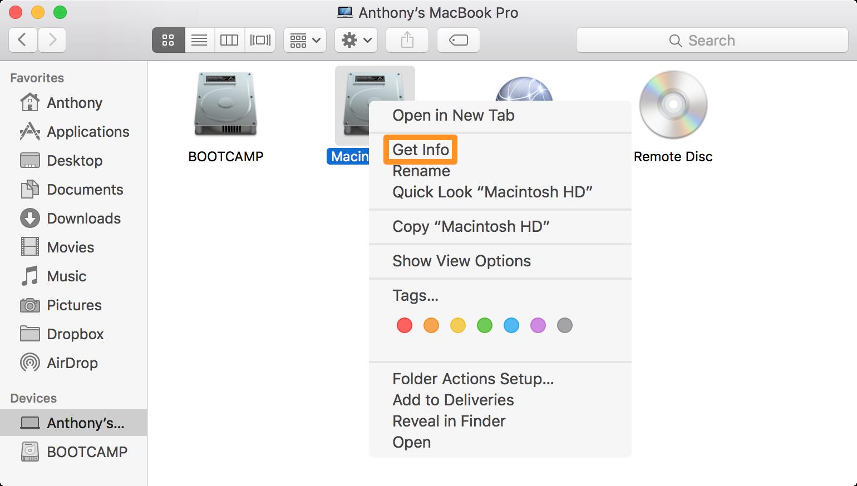 Get Macintosh HD Info