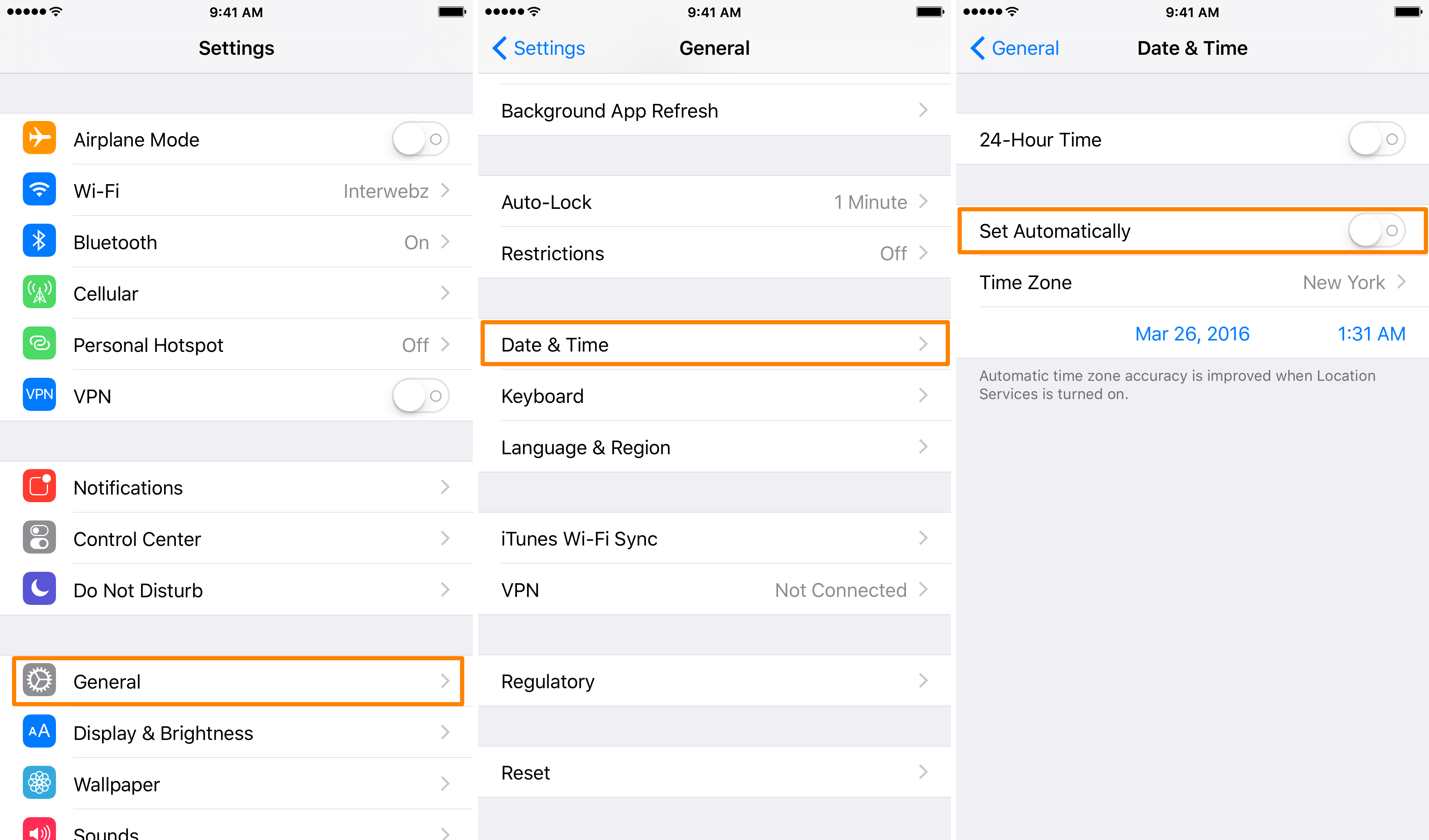 How to disable automatic time settings in iOS