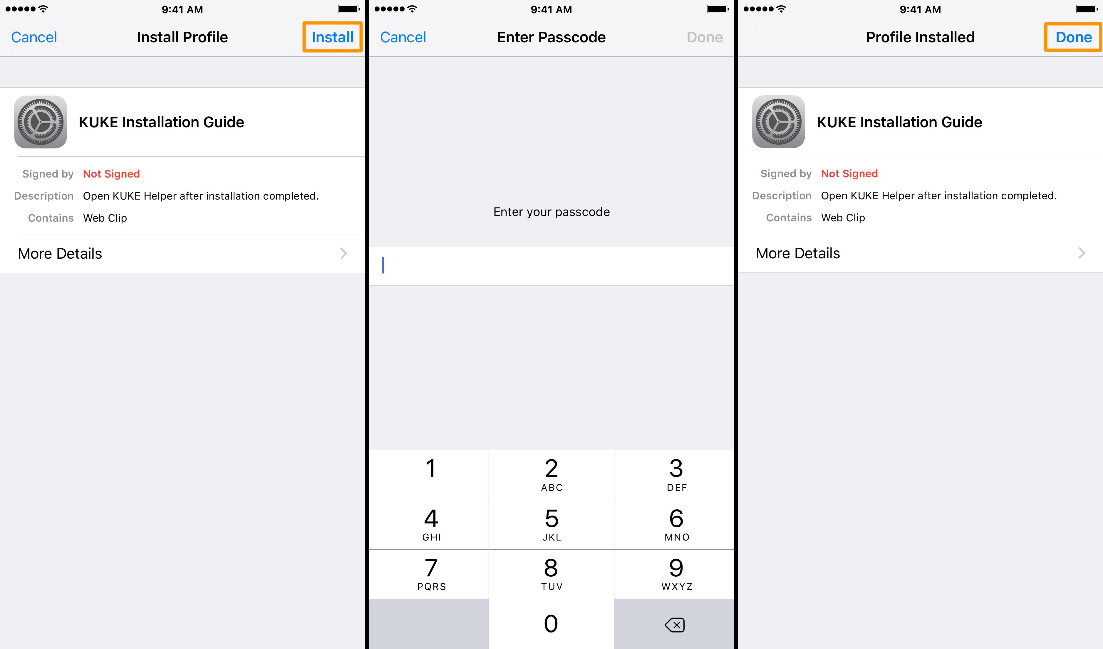 KUKE Install Profile iOS
