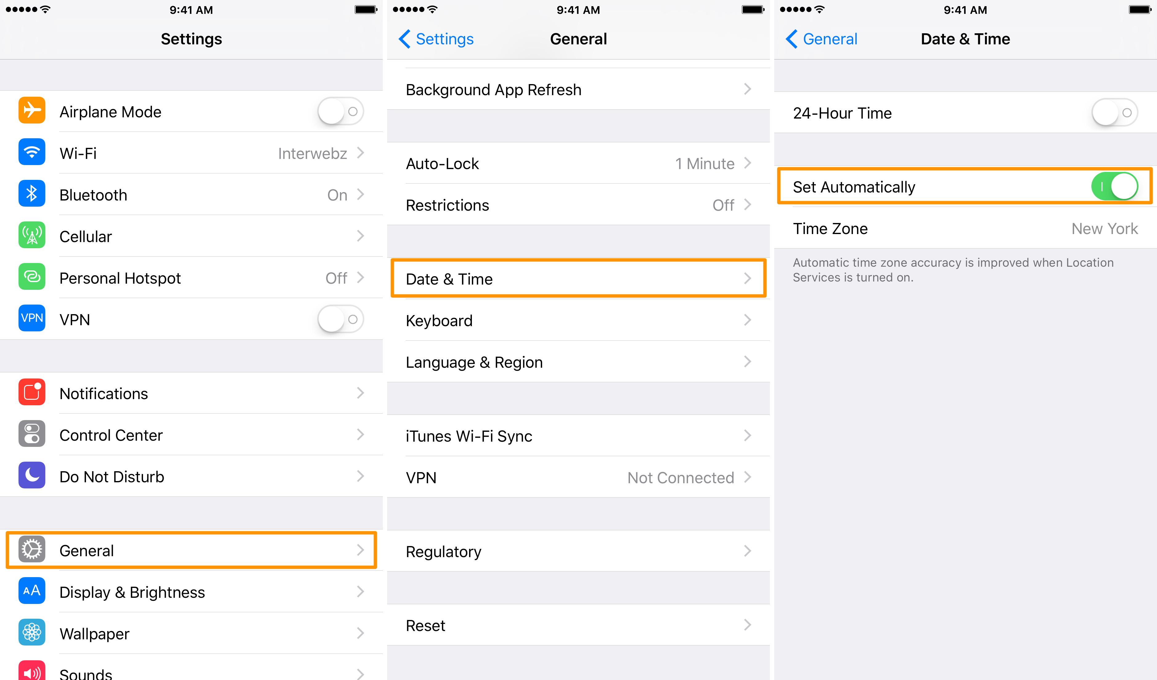 Letting iOS handle time automatically