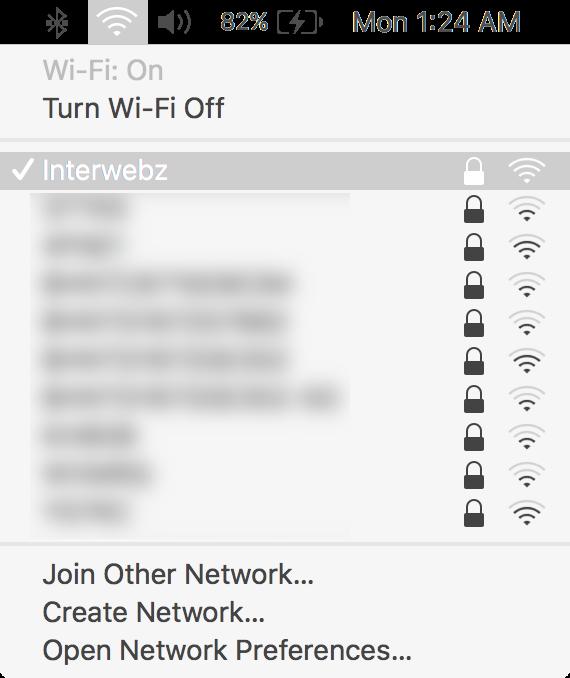 macOS Wi-Fi Menu in Menu Bar