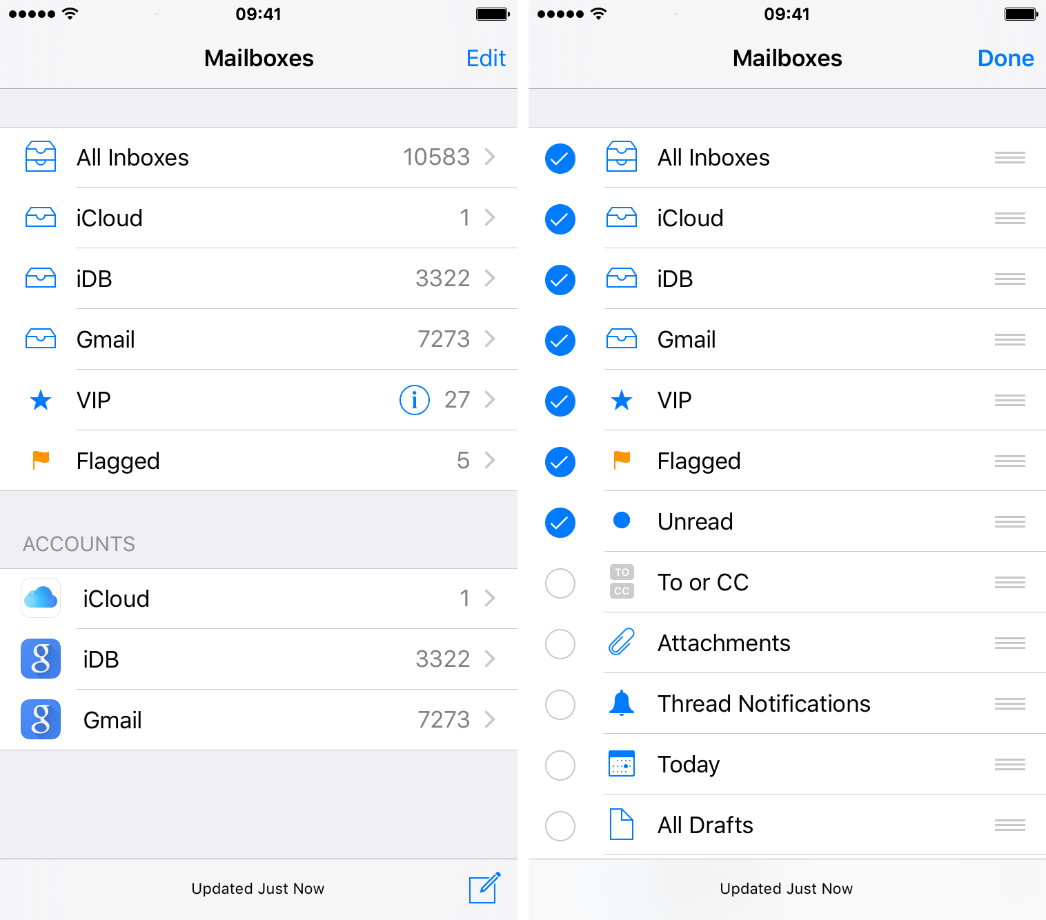 Mail iOS 9 show Unread mailbox iPhone screenshot 002