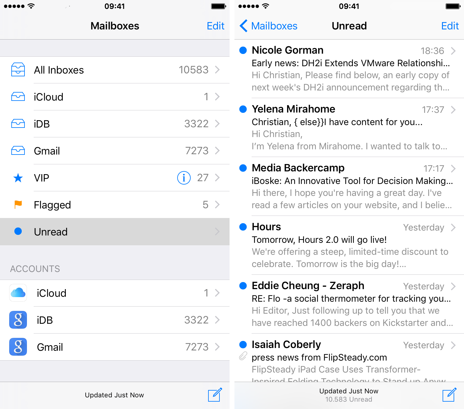 Mail iOS 9 show Unread mailbox iPhone screenshot 003