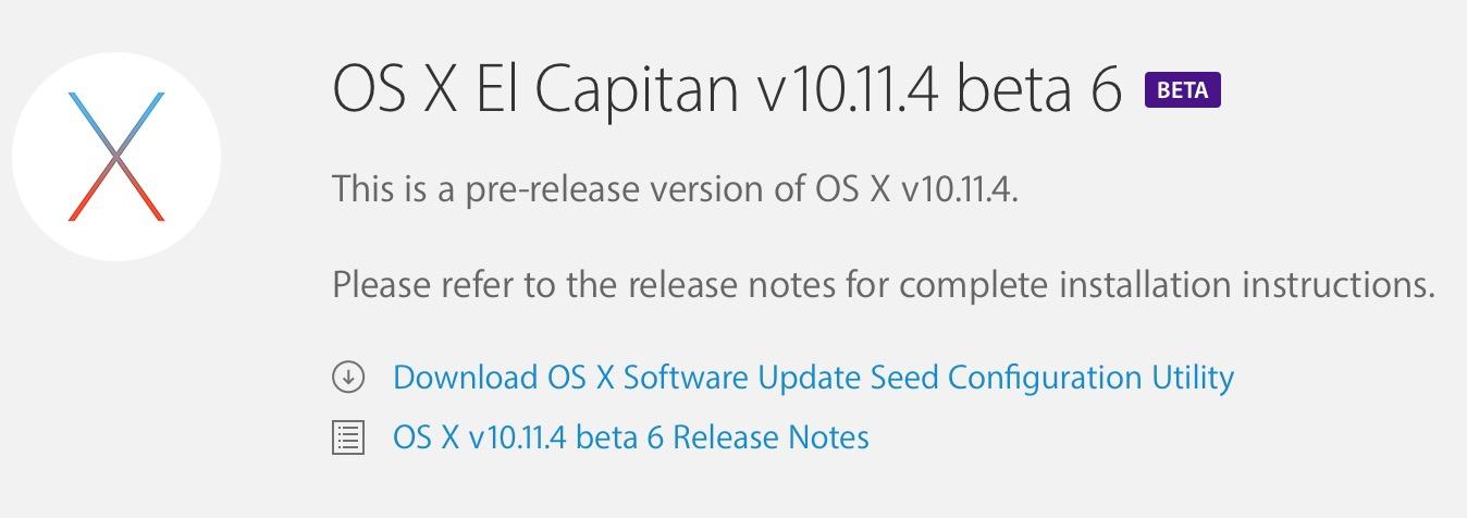 OS X 10.11.4 beta 6 update