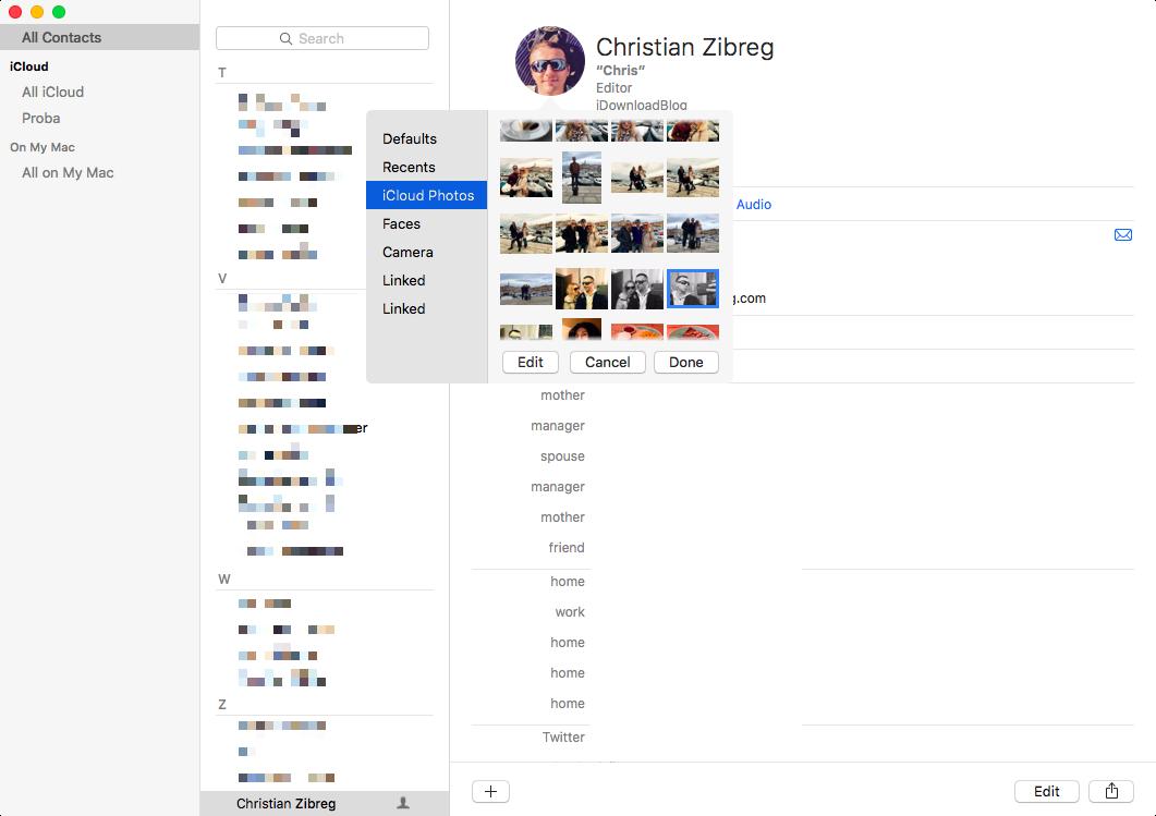 Cambiar foto de perfil con la aplicación Contactos en Mac