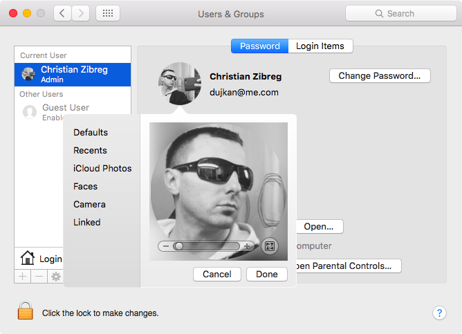 Change profile picture on Mac