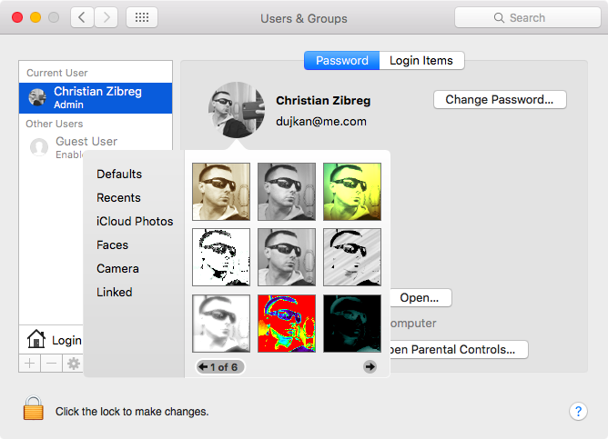 Adjust profile picture on your Mac