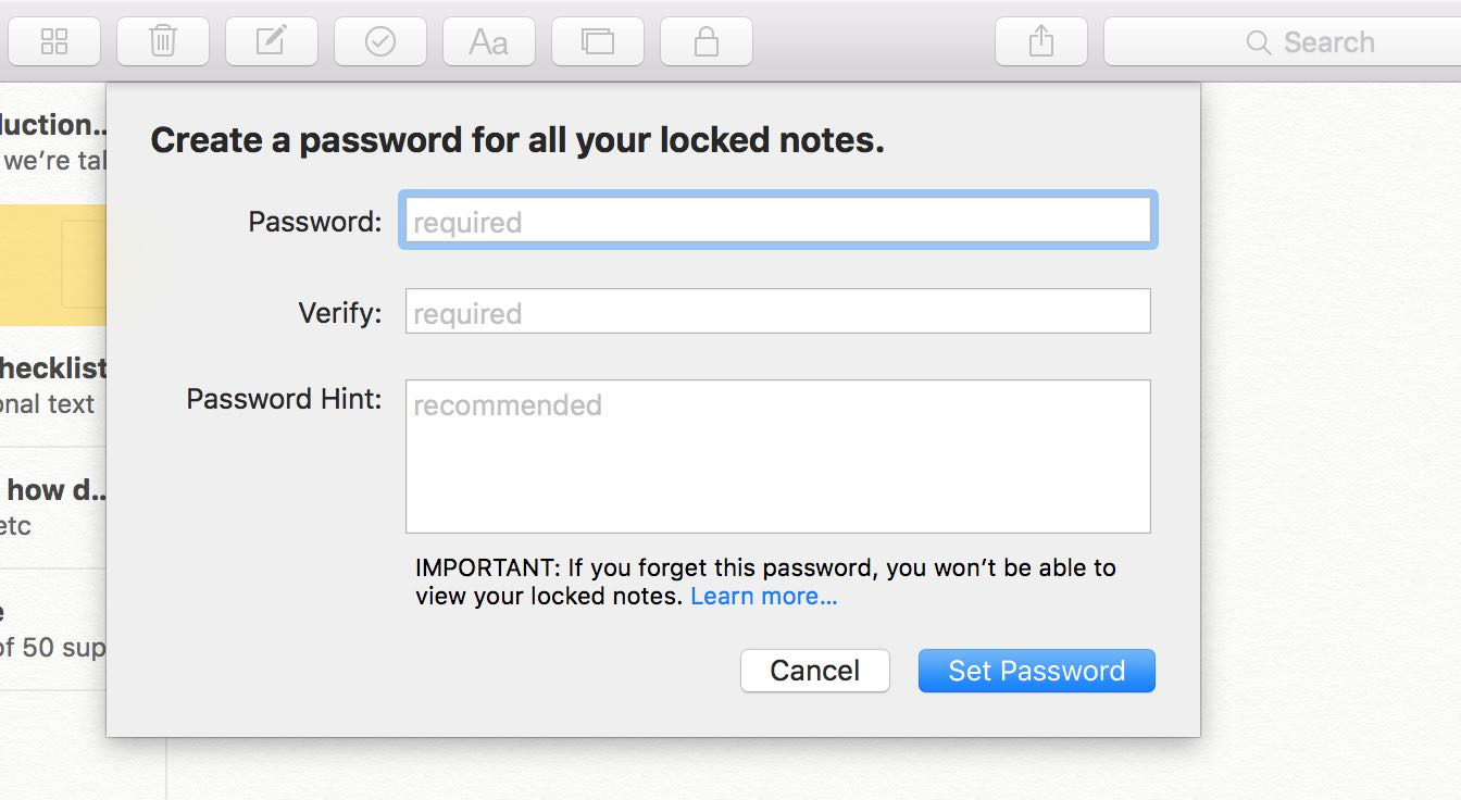 OS X El Capitan Notes password protection Mac screenshot 001