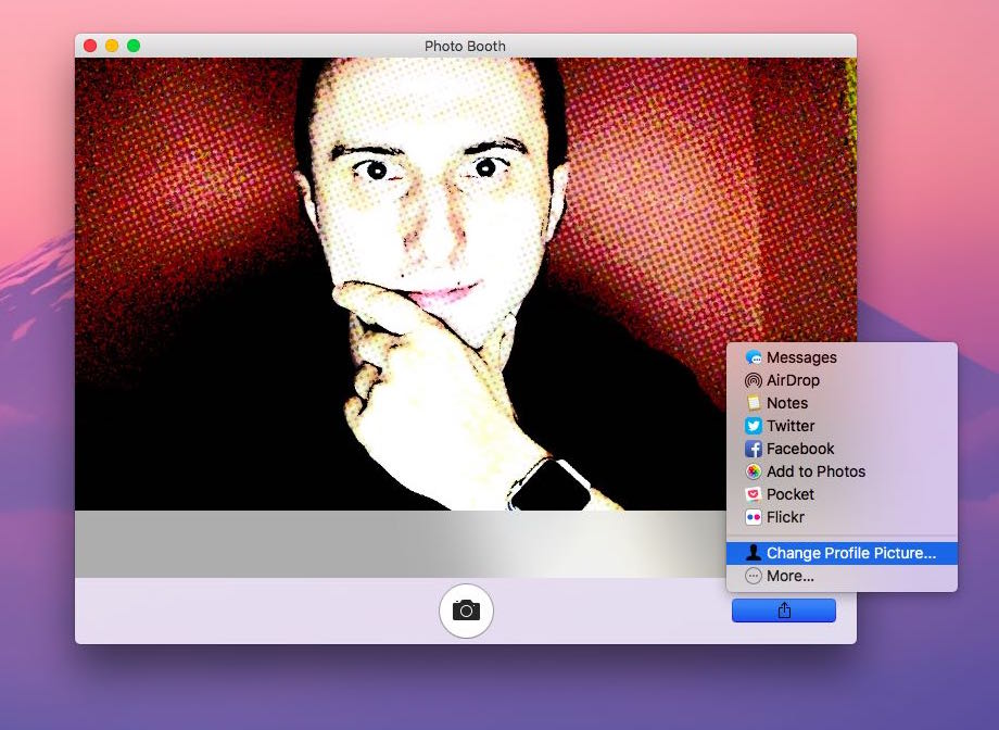 use photo booth to change profile picture mac