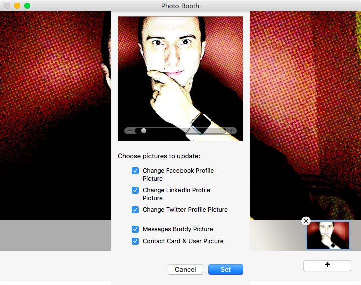 Update your profile picture with Photo Booth