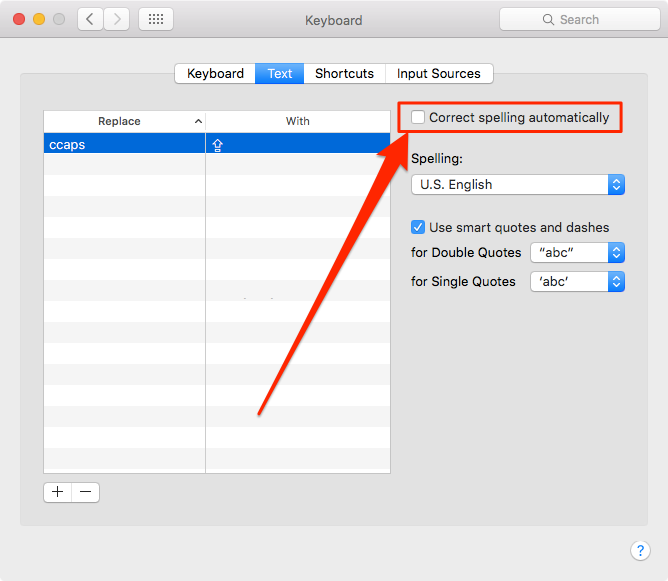 disable auto-correction OS X El Capitan System Preferences