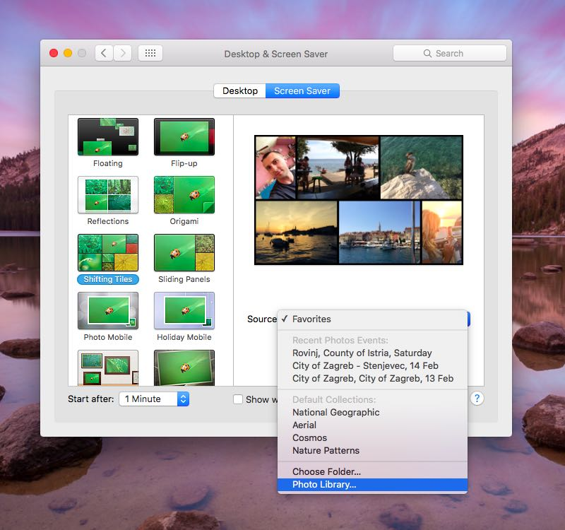 How to set Photos library as screen saver on Mac