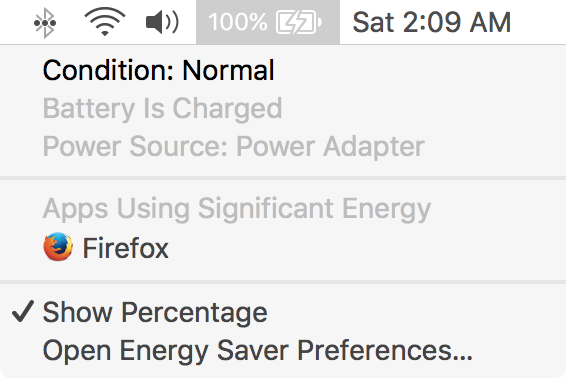 Mac battery status menu to check mac battery condition