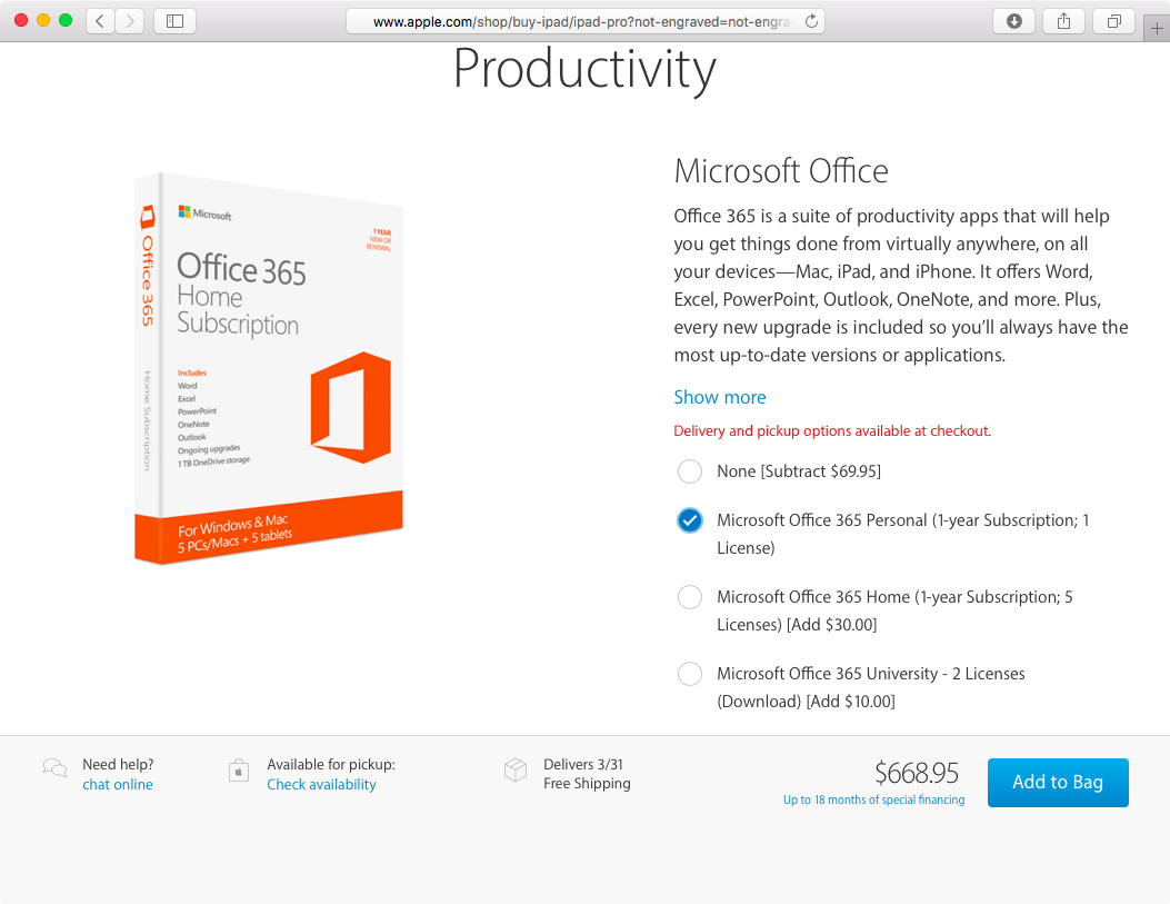 Office 365 recommendation for iPad Pro on Apple Online Store web screenshot