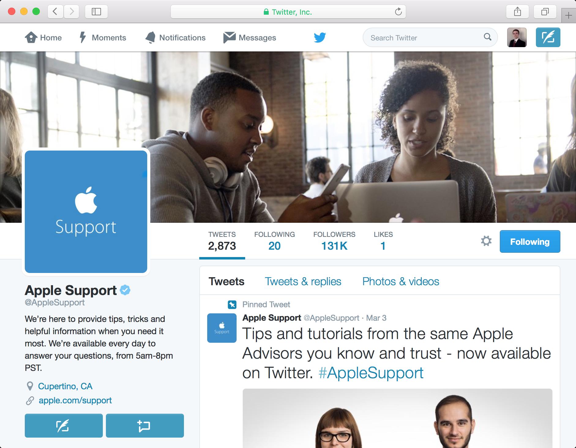 Apple Support Twitter in Safari