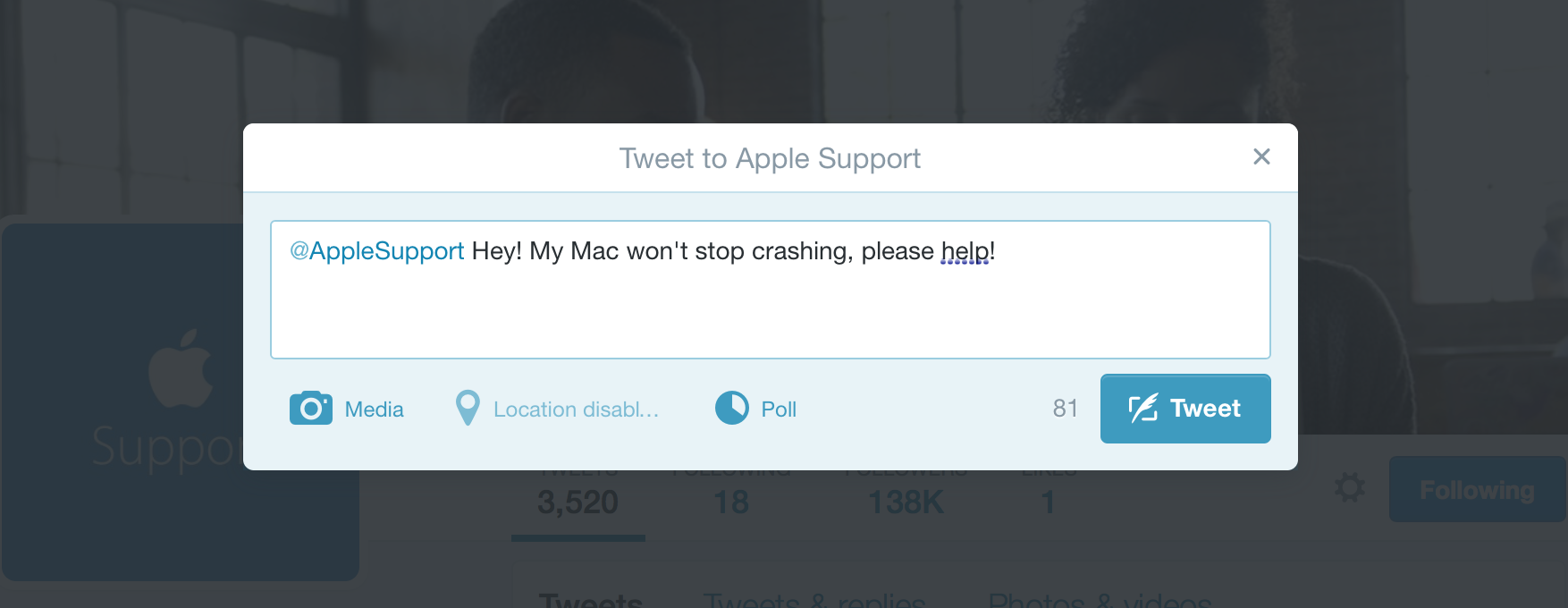 Apple Support Twitter users can reach out for help