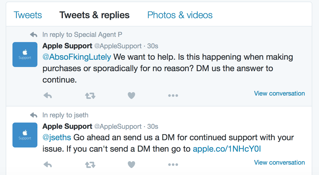 Apple Support Twitter public treatment of customers