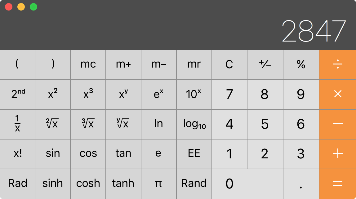OS X Calculator app convert units of measure 1