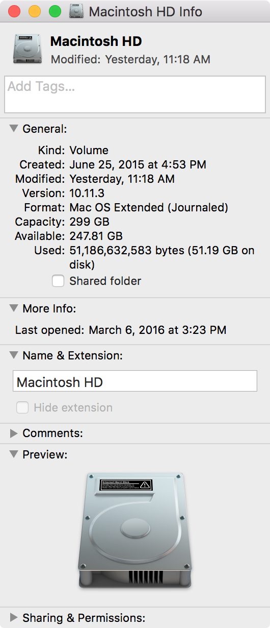 Macintosh HD drive storage space
