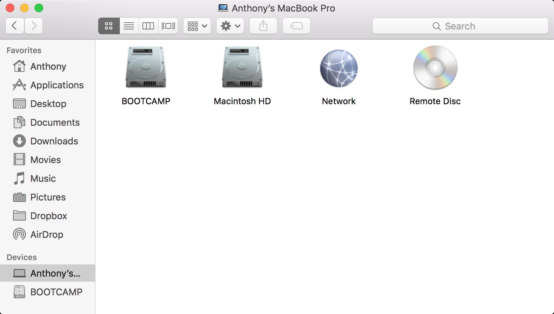 Finder Storage Disk