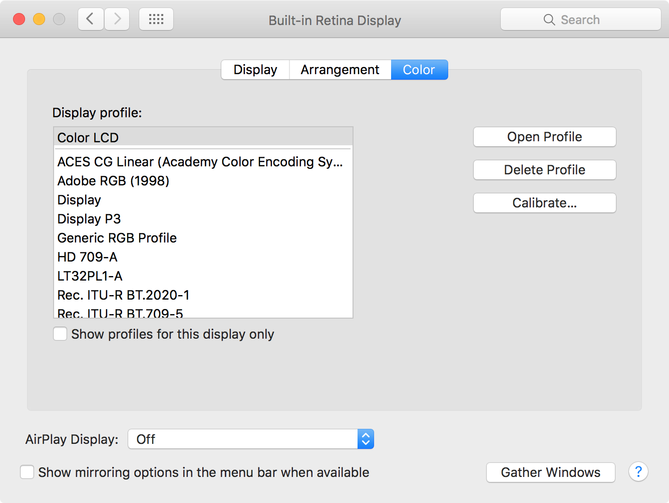 System Preferences on Mac Display Color Profile